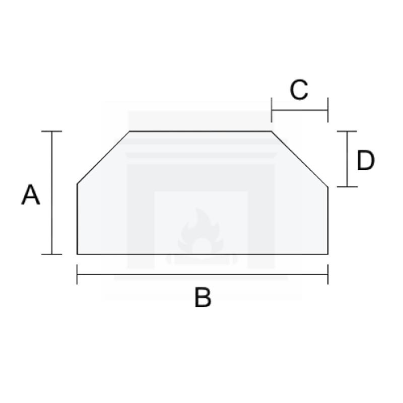 Szkło kominkowe żaroodporne na wymiar 3 mm z dwoma ściętymi rogami