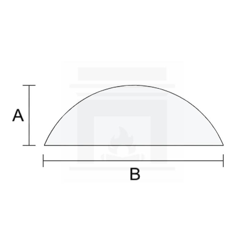 Szkło kominkowe żaroodporne na wymiar 3 mm w kształcie półkola