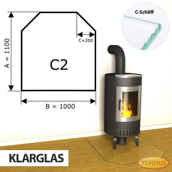 Podstawa kominkowa ze szkła przezroczystego C2 -1