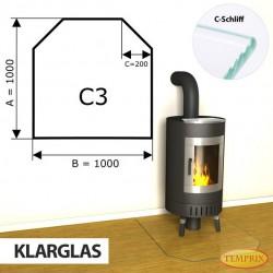 Podstawa kominkowa ze szkła przezroczystego C3