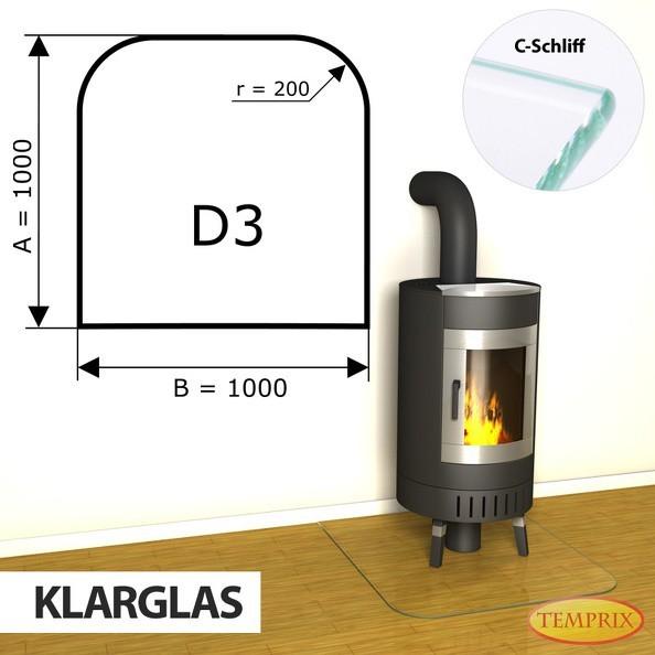 Podstawa kominkowa ze szkła przezroczystego D3 -1
