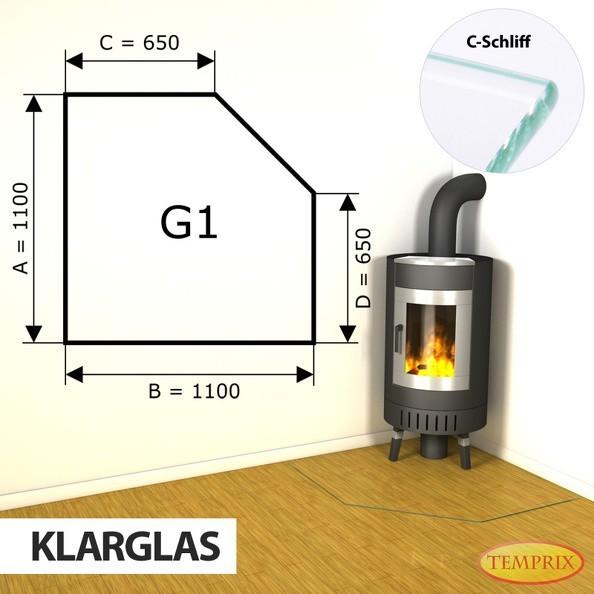 Podstawa kominkowa ze szkła przezroczystego G1 -1