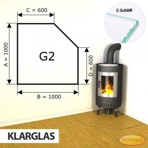 Podstawa kominkowa ze szkła przezroczystego G2