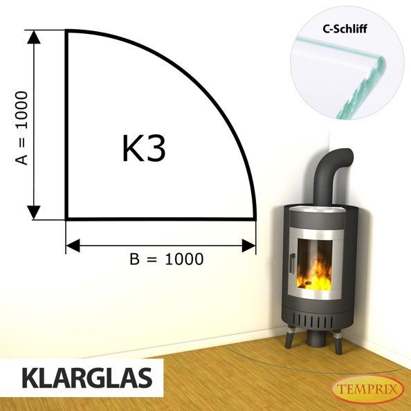 Podstawa kominkowa ze szkła przezroczystego K3 -1