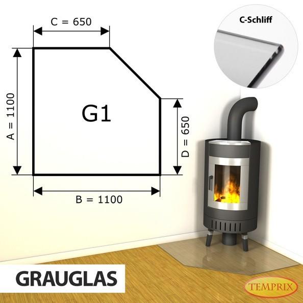 Podstawa kominkowa ze szkła szarego G1 -1