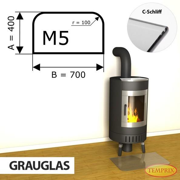 Podstawa kominkowa ze szkła szarego M5 -1