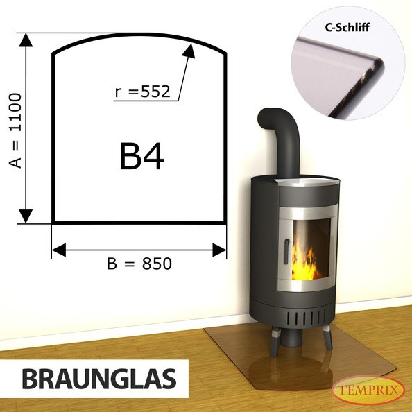 Podstawa kominkowa ze szkła brązowego B4 -1