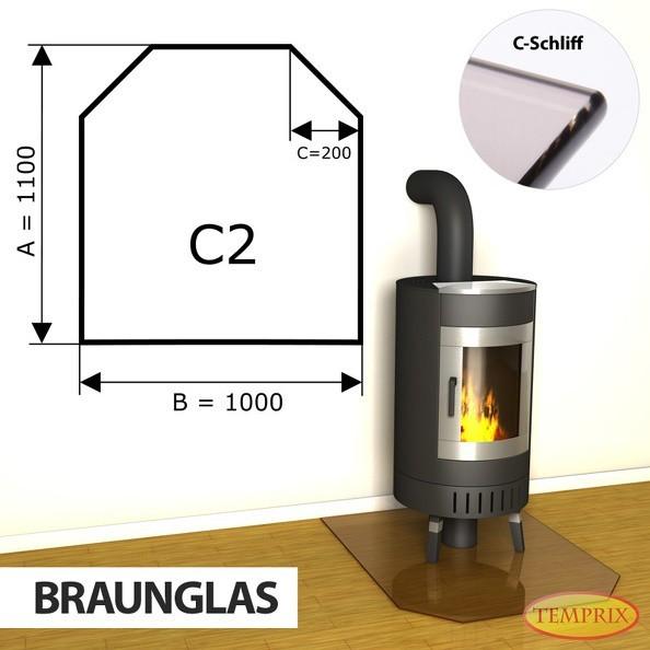 Podstawa kominkowa ze szkła brązowego C2 -1