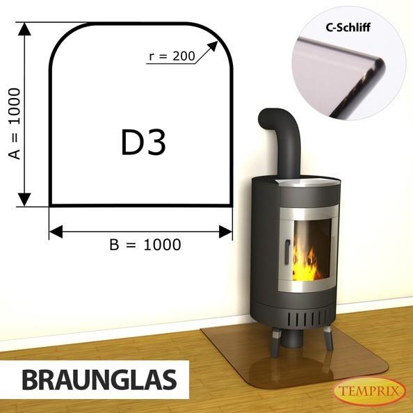 Podstawa kominkowa ze szkła brązowego D3 -1