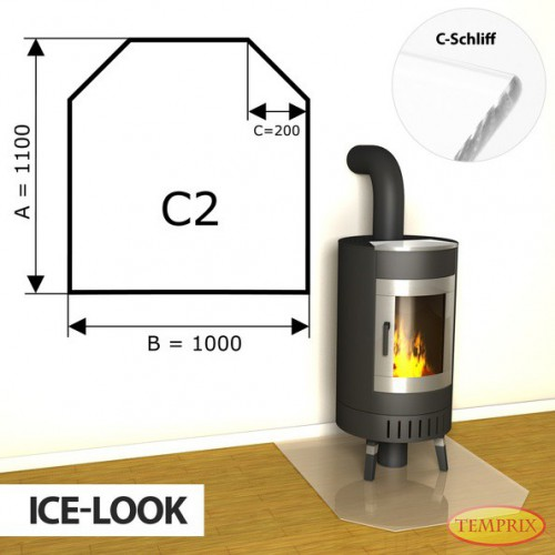 Podstawa kominkowa ze szkla jak lod C2