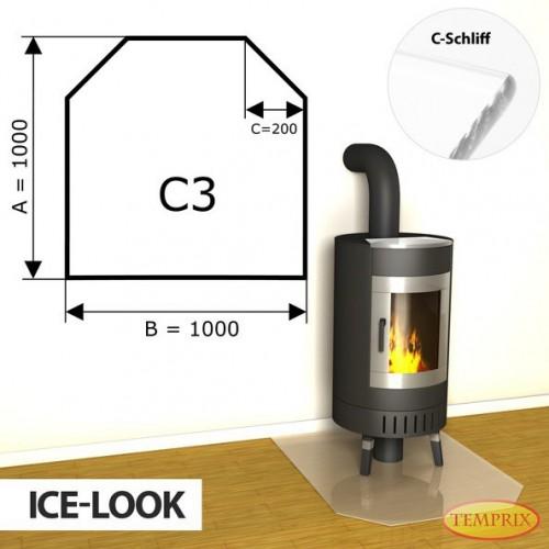 Podstawa kominkowa ze szkla jak lod C3