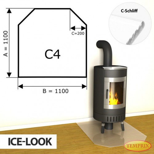 Podstawa kominkowa ze szkla jak lod C4