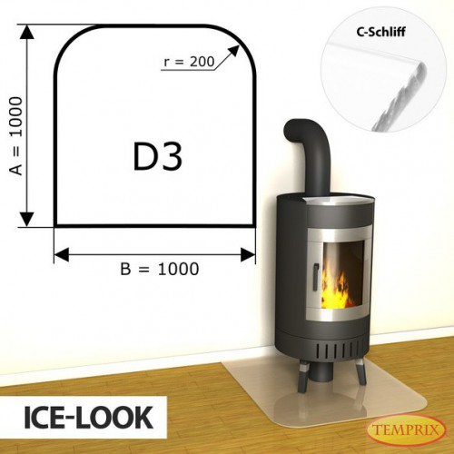 Podstawa kominkowa ze szkla jak lod D3
