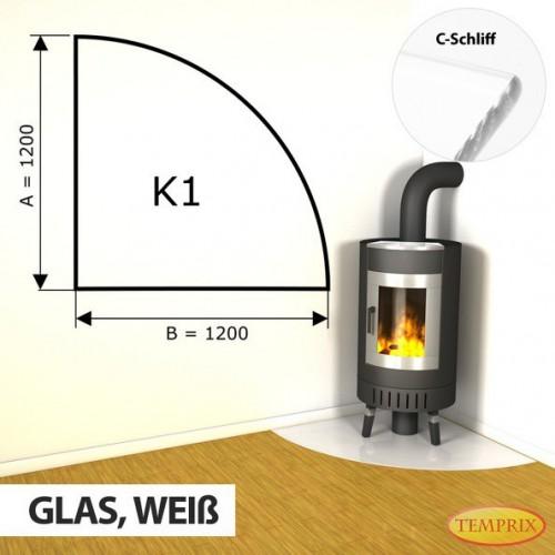 Podstawa kominkowa ze szkla bialego K1