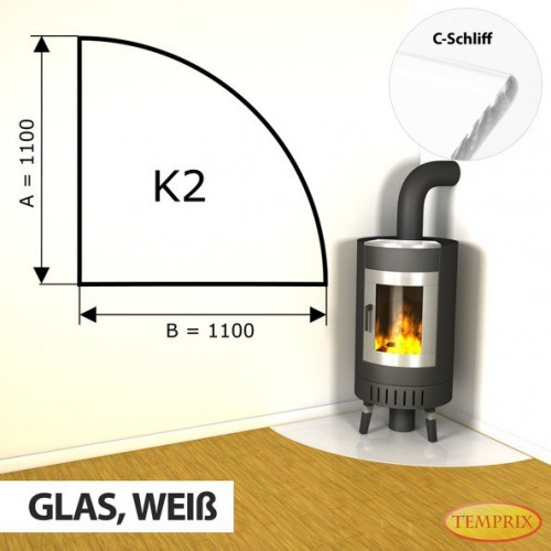 Podstawa kominkowa ze szkla bialego K2