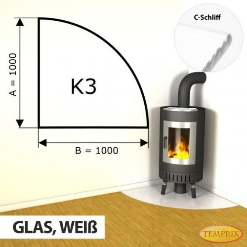 Podstawa kominkowa ze szkla bialego K3