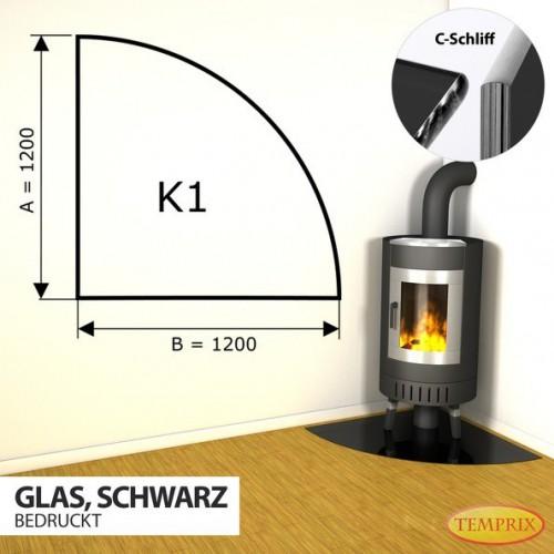 Podstawa kominkowa ze szkla czarnego K1