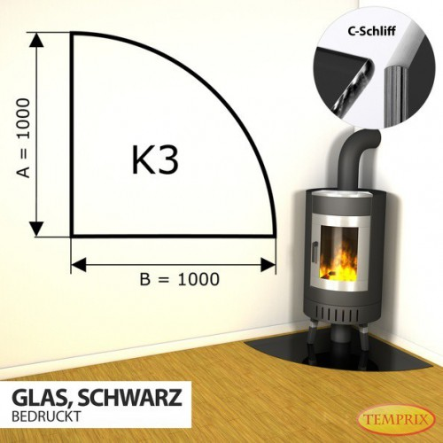 Podstawa kominkowa ze szkla czarnego K3
