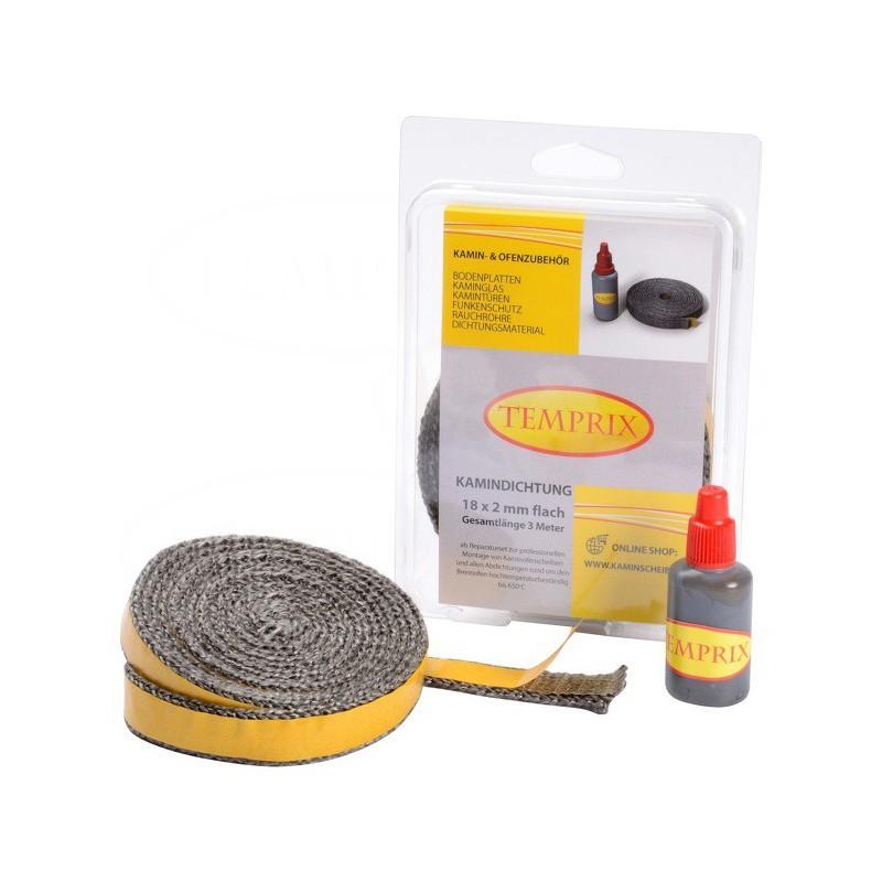 Zestaw naprawczy do szyby kominkowej Temprix18x2 mm + klej