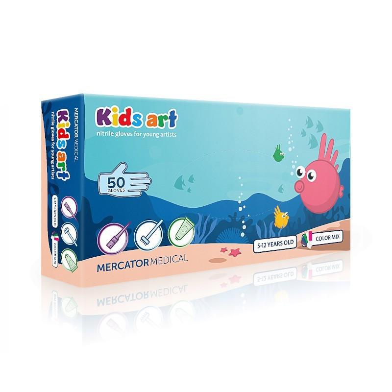 Rękawice nitrylowe dla dzieci KIDS ART XS - Mix kolorów-1