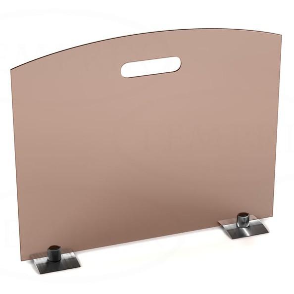 Parawan Classic ze szkła brązowego z nogami ze stali nierdzewnej -1