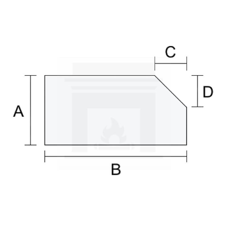 Szkło kominkowe żaroodporne samoczyszczące na wymiar IR Max 4 mm z jednym ściętym rogiem