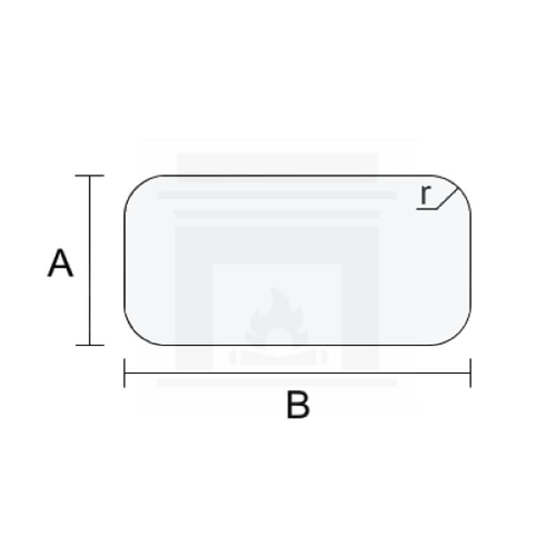Szkło kominkowe żaroodporne samoczyszczące na wymiar IR Max 4 mm z czterema narożnikami
