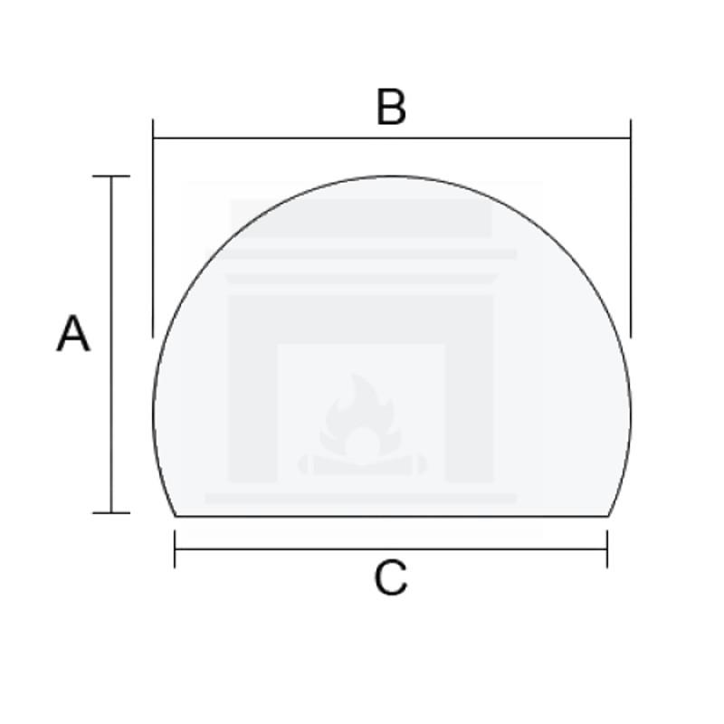 Szkło kominkowe żaroodporne na wymiar Mirror Glass w kształcie fragmentu koła